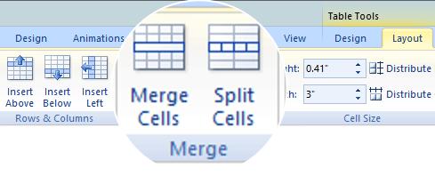 Menggabungkan atau memisahkan sel tabel