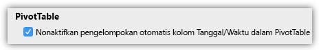 Cuplikan layar opsi PivotTable untuk menonaktifkan pengelompokan otomatis kolom Tanggal/Waktu.