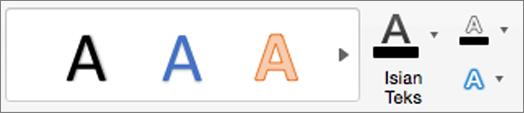 Klik isian teks, kerangka teks, dan efek teks