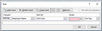 Data > Urutkan > Opsi Urutkan menurut Warna