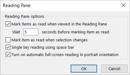 Pengaturan dalam kotak dialog panel baca