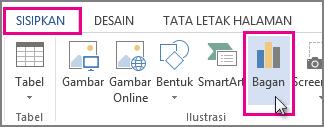 Bagian tab Sisipkan yang memperlihatkan tombol Bagan