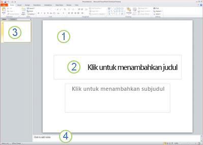 Ruang kerja, atau tampilan Normal, dalam PowerPoint 2010 dengan empat area berlabel.
