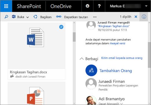 Cuplikan layar panel Detail di OneDrive for Business di SharePoint Server 2016 dengan Paket Fitur 1