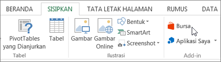Cuplikan layar bagian dari tab Sisipkan pada pita Excel dengan kursor mengarah ke toko. Pilih penyimpanan untuk masuk ke bursa Office dan mencari add-in untuk Excel.