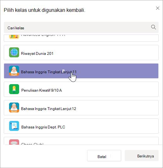 Pilih kelas untuk digunakan kembali dari.