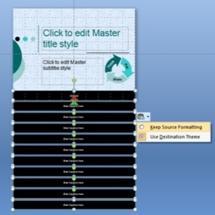 Master slide dengan opsi pemformatan ditampilkan