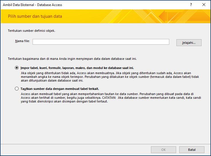 Cuplikan layar panduan impor Dapatkan Data Eksternal - Database Access