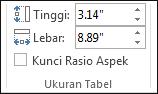 Mengubah ukuran tabel