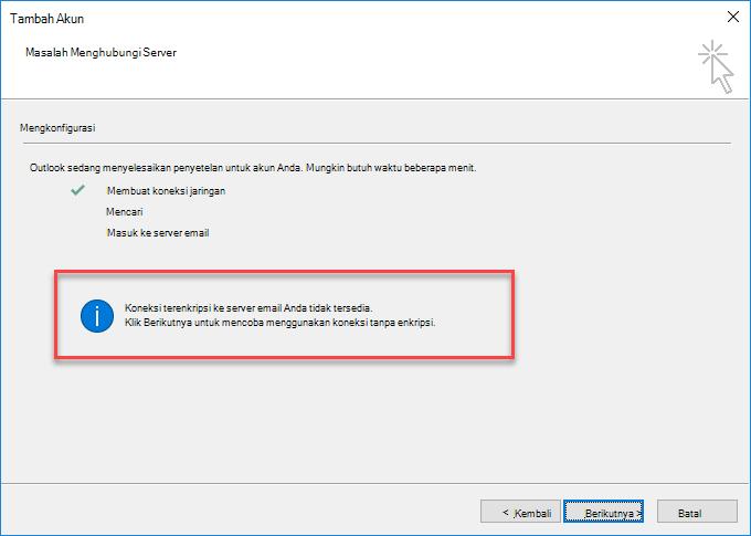 Kesalahan koneksi terenkripsi Outlook
