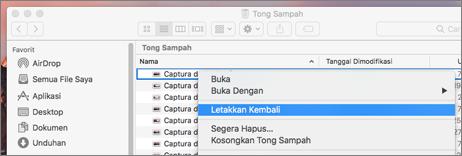 Menu klik kanan untuk recove file dari sampah di Mac