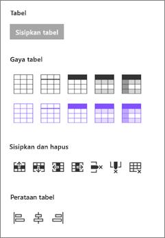 Menyisipkan opsi tabel