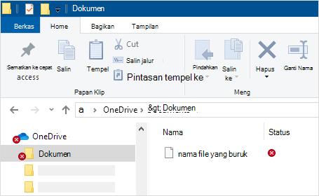 File Explorer memperlihatkan kesalahan sinkronisasi OneDrive