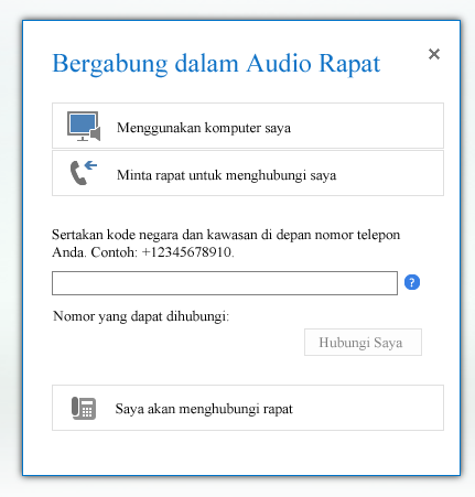 cuplikan layar kotak dialog bergabung dalam audio rapat dengan opsi minta rapat untuk menghubungi saya dipilih
