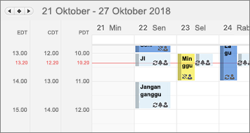 Kalender memperlihatkan tiga zona waktu