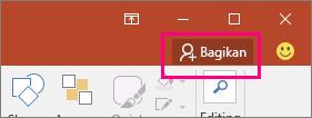 Memperlihatkan tombol Bagikan pada pita di PowerPoint 2016