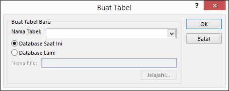 Dialog Buat Tabel di Access memungkinkan Anda memilih opsi untuk kueri buat tabel.
