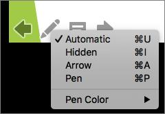 Cuplikan layar memperlihatkan opsi yang tersedia untuk penunjuk yang digunakan dalam peragaan slide. Opsi ini akan otomatis, tersembunyi, Panah, pena, dan warna pena.