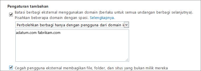 Pengaturan tambahan untuk membatasi berbagi eksternal di Office 365 SPO