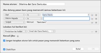 Membuat aturan dari pesan email yang sudah ada