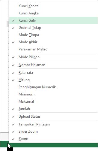 Klik kanan bilah status untuk dikustomisasi
