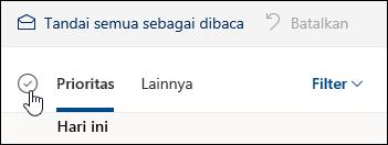 Cuplikan layar kotak centang di atas daftar pesan