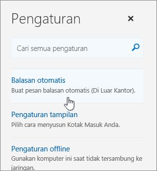 Cuplikan layar bantuan dengan balasan otomatis dipilih.