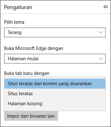 Pengaturan Edge untuk menampilkan tab 'Office 365 Saya'