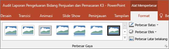 Memperlihatkan berbeda Zoom gaya dan efek yang Anda bisa memilih di tab Format di PowerPoint.