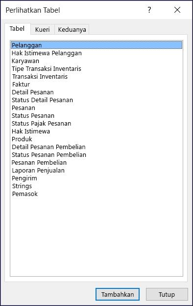 Dialog Perlihatkan Tabel di Access menampilkan nama tabel