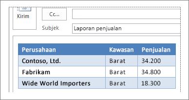 Contoh tabel dalam pesan email