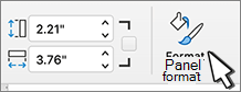 Tombol panel format dipilih