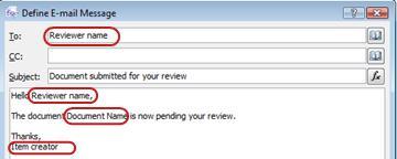 Pesan email menyoroti area potensial untuk menyisipkan pencarian