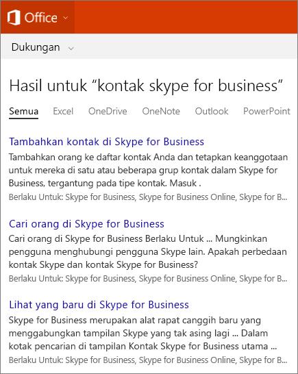 Cuplikan layar hasil pencarian Kontak Skype For Business di situs Dukungan Office.