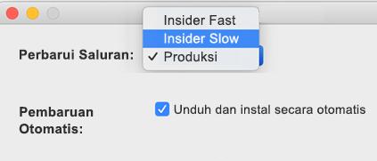 Image of Mac Microsoft AutoUpdate-jendela preferensi > yang memperlihatkan opsi Insider Slow dan Insider Fast.