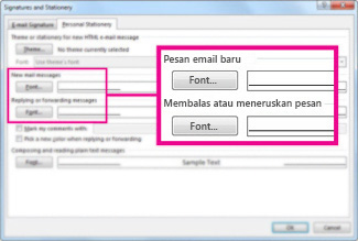 Perintah font dalam kotak dialog Tanda Tangan dan Alat Tulis
