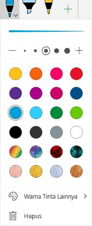 Warna tinta dan efek untuk menggambar dengan tinta di Office di Windows Mobile