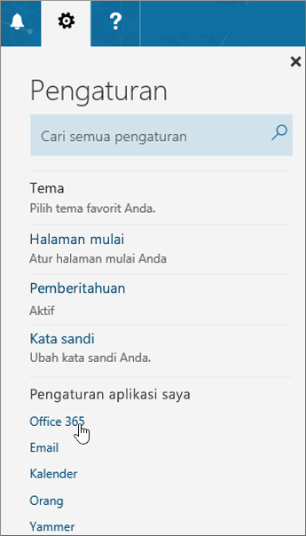 Panel Pengaturan Office 365