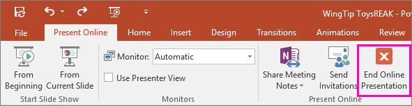 Memperlihatkan tombol Akhiri Presentasi Online di PowerPoint