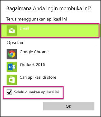 Pilih aplikasi email yang ingin digunakan