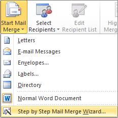 Di Word, pada tab surat-menyurat, pilih mulai gabungan surat, dan lalu pilih langkah demi langkah panduan gabungan Surat