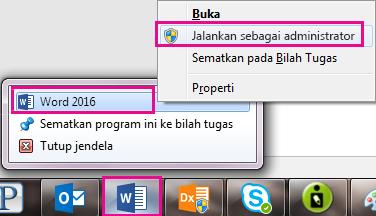 Klik kanan ikon Word, dan lalu klik kanan kata lagi untuk menjalankan program sebagai administrator.