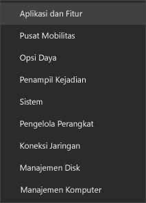 Cuplikan layar menu mulai yang menampilkan Aplikasi dan Fitur