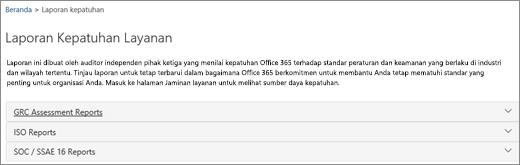 Menampilkan halaman Jaminan layanan: Laporan Kepatuhan Layanan.