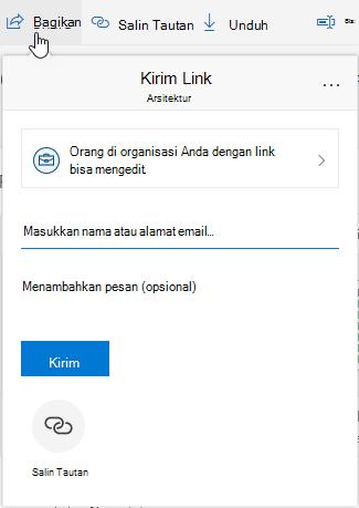 Memperlihatkan opsi bagikan file