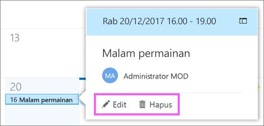 Cuplikan layar memperlihatkan tombol Edit dan Hapus