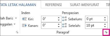 Cara masuk ke semua opsi paragraf