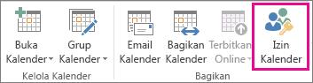 Tombol Izin Kalender di tab Beranda Outlook 2013