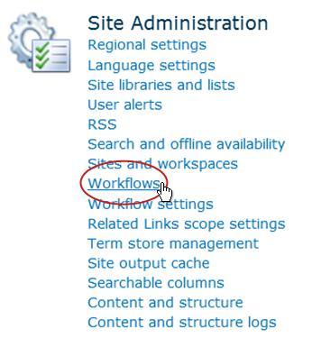 Link Alur Kerja di bawah judul Administrator Situs