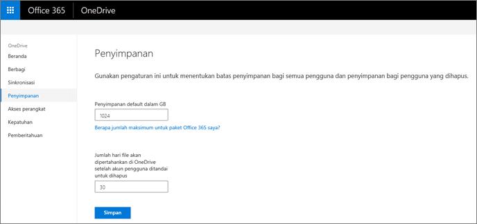 Tab penyimpanan OneDrive Pusat admin